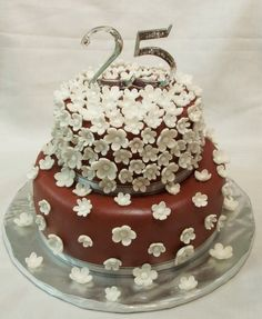 25th anniversary cake chocolate with Flowers decoration
