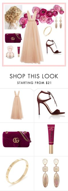 """Marchesa gown"" by marie-de on Polyvore featuring mode, Marchesa, Gianvito Rossi, Gucci, Too Faced Cosmetics, Cartier et Vince Camuto"