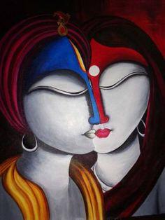 Spiritual Fusion - Krishna Radha - Canvas Prints