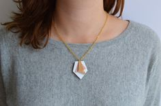 Geometric leather pendant Abstract statement by fleurdecarotte
