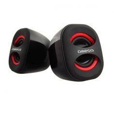 Omega OG115 to kompaktowych rozmiarów, atrakcyjnie wyglądające głośniki zasilane z portu USB. Głośniki zaskakują wysoką jakością i siłą dźwięku. Dzięki zasilaniu z portu USB głośniki nie przegrzewają się i nie wymagają osobnego zasilacza - co pomaga utrzymać porządek i jest wygodne w podróży lub podczas przenoszenia głośników. Z boku posiadają regulację głośności.  Produkt w kolorze czarno-czerwonym.