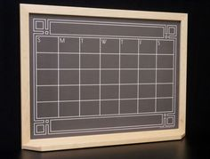 """Inspired by the art and design of the Roaring 20s - our Black """"Art Deco Chalkboard"""" Calendar Dry Erase Board. Also comes in green."""