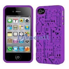 Purple 3D Sculpture Design Castle Town Silicone Case Cover for iPhone 4 4S 4G on eBay!