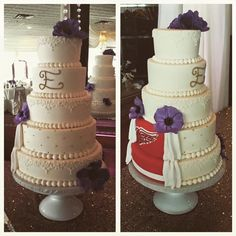 Tiered Detroit Red Wings Hockey Peek-a-boo Wedding Cake