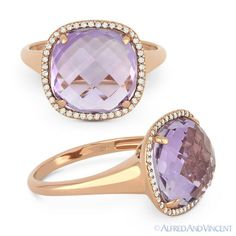 The featured ring is cast in 14k rose gold and showcases a checkerboard cushion cut pink amethyst center gem surrounded by round cut diamond accents all set on a halo setting design.