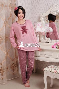 Women's Cute Pajamas Set Long Sleeve Top + Pants Sleepwear Home Wear