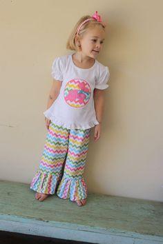 Girls chevron ruffled easter tshirt and matching pants by Gigi Babies on Etsy, $45.00