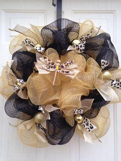 Dragonfly, cheetah print mesh wreath
