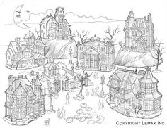 """In early 1999, Lemax decided to start a new village line for Halloween and asked their design artists to produce sketches and present ideas of what a Lemax Halloween village might look like. Eventually, these design concepts were further explored to create a Halloween Village diorama— it was here that life was given to the dead in the Lemax """"Spooky Town"""" village. Halloween Village, 20th Anniversary, Diorama, Presents, Sketches, Concept, Explore, Artist, Design"""