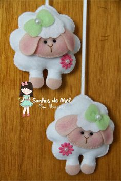 Cute idea for felt sheep Felt Diy, Felt Crafts, Easter Crafts, Baby Crafts, Fabric Crafts, Sewing Crafts, Sewing Projects, Crafts For Kids, Felt Christmas Ornaments