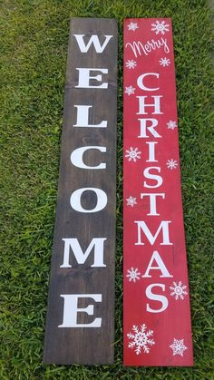 Fall/Christmas Front Porch Sign – Reversible Wood Sign – Holiday Front Porch Decor – Christmas Sign – The Best DIY Outdoor Christmas Decor Fall Wood Signs, Christmas Signs Wood, Diy Wood Signs, Christmas Porch, Painted Wood Signs, Christmas Crafts, Christmas Decorations, Hand Painted, Christmas Ideas