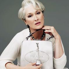 Pearl an Prada?  Yes Please.  Meryl Streep wear black pearls #Monthofpearl #Jerseypearlloves .