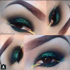Green glitter eyeshadows makeup yellow smokey eye