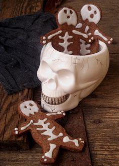Skeleton Cookies made with the gingerbread man cookie cut-out