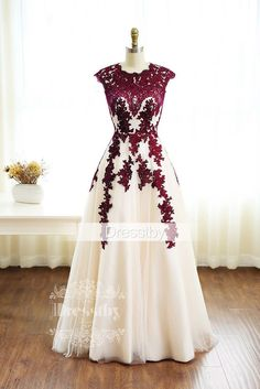 burgundy lace tulle long prom dress, burgundy bridesmaid dress Love the style and colors. Grad Dresses, Dance Dresses, Homecoming Dresses, Evening Dresses, Dress Outfits, Dress Prom, Maroon Prom Dress, Wedding Dress, Lace Wedding