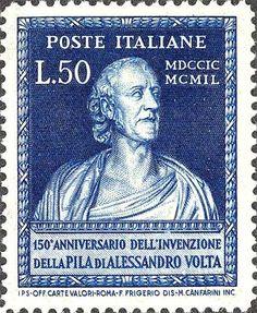 Emesso il 14 settembre 1949 50 L. - Busto di Volta, realizzato da G.B.Comolli