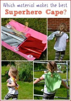 Which material makes the best superhero cape? Experiment and see! Fun science for kids Super Hero Activities, Eyfs Activities, Science Activities For Kids, Preschool Science, Science Experiments Kids, Teaching Science, Science Education, Early Education, Science Lessons