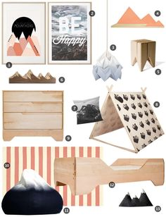 A Room in the Mountains nursery mood board by Little Gatherer featuring Kalon's ECHO TODDLER BED