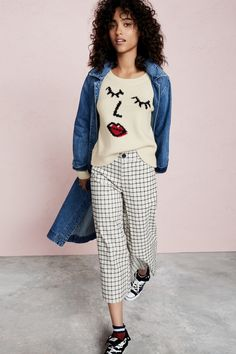 madewell langford wide-leg pants worn with the denim duster jacket + making faces pullover sweater.