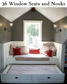 36 Window Seats and Nooks - http://diyideas4home.com/2014/02/36-window-seats-nooks/