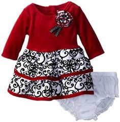 Youngland baby-girls infant long sleeve velour drop waist dress in red colour