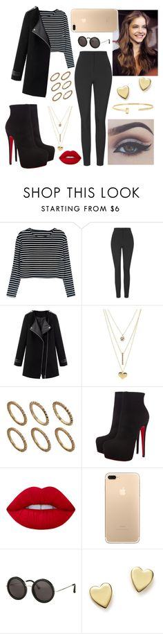 """""""#311"""" by nahstilinski ❤ liked on Polyvore featuring Unique, Charlotte Russe, Pieces, Christian Louboutin, Lime Crime, Bellezza, The Row, Bloomingdale's and FOSSIL"""
