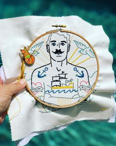 """I fancy myself a sailor and I'm definitely salty. Enjoying a little poolside stitch break with this handsome fellow. I think I'll call him """"Phil"""". #saltysailor #handembroidery #thatstachetho #slowstitching @studiomme"""
