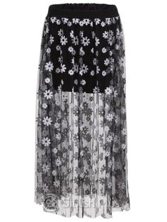 Latest Small Dot skirts Maxi Skirts (Black,White) | Stylishplus.com