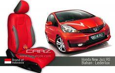 Desain Jok Mobil Warna Merah Selaras dengan Warna Mobil Honda Jazz rs terbaru  