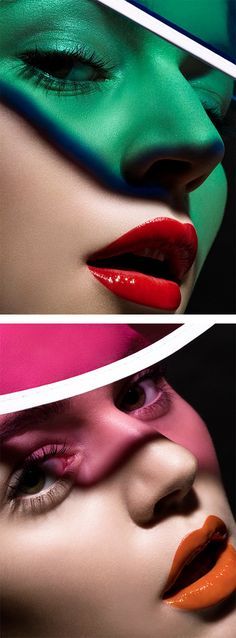 Beauty Photography by Jaques Bagios, these are some other beauty images that i feel are really effective, the caps on the models are acting as gels creating a cast of colour across the models face, i also really like the contrast of lip colour to the colour of the cap such as red and green together i would like to try a similar but use gels instead of the caps.