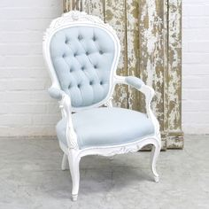 Blue Tufted Armchair $361.25 #OOAK #shabbychic #thebellacottage