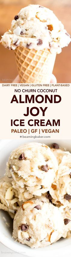 Paleo Vegan Almond Joy Ice Cream: a 7 ingredient recipe for deliciously creamy, no churn ice cream bursting with coconut, chocolate chips, and almonds.