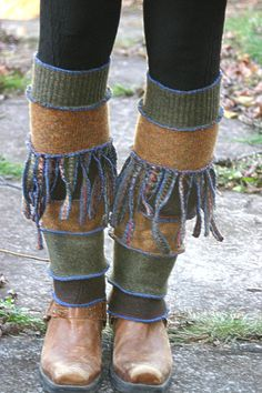Harry and the Hippie Chic Upcycled recycled sweater leg warmers with fringe by harryandthehippechic on Etsy, $36.00