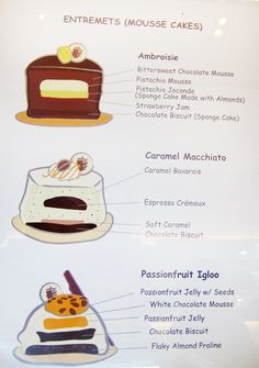 For modern pastry chefs, an entremets is a multi-layered mousse-based cake with various complementary flavors and varying textural contrasts. Fancy Desserts, Gourmet Desserts, Zumbo's Just Desserts, Plated Desserts, No Bake Desserts, Gourmet Recipes, Small Desserts, Sweet Recipes, Pastry Recipes