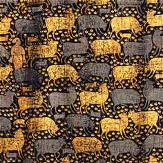 Painted Cloth (Pichwai) Depicting the Celebration of the Festival of Cows (detail). Painted and printed gold and silver leaf, opaque watercolor on indigo-dyed cotton. Dimensions: 97 x 103 in. x 262 cm). Cow Painting, Large Painting, Fabric Painting, Pichwai Paintings, Indian Eyes, Traditional Paintings, Indian Art, Art Pictures, Textiles