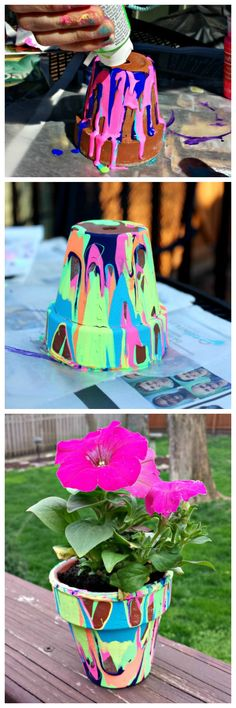 Great garden craft - rainbow painted pour pots! Birding idea for he girls to make and keep as a souvenir!