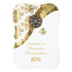 Gold and white damask wedding menu card