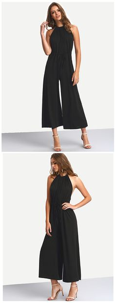 Fabric :Fabric has no stretch Season :Summer Pattern Type :Plain Color :Black Sleeve Length :Sleeveless Material :Polyester Neckline :Halter Style :Casual
