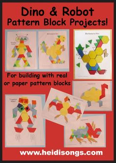 Dino & Robot Pattern Block Projects & Hexagon, Cylinder & Trapezoid Songs (from HeidiSongs)