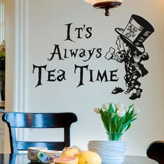 Wall Decal Quote Alice In Wonderland Mad Hatter by FabWallDecals