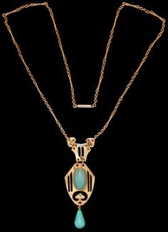 A gold necklace of spade shape with bars, set with a central Persian turquoise, a similar suspension above and a Persian turquoise drop. MURRLE BENNETT & Co. c.1900.