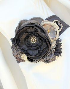 Statement Bridal Belt Wedding Dress Sash Charcoal Graphite and Beige $185