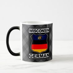 #Wisconsin German American Mug, available to purchase at #Zazzle.com, items can be customized with your own text #germanamerican #germany #deutschland
