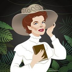 Katharine Hepburn as Rose Sayer in the 1951 film 'The African Queen' Funny Caricatures, Celebrity Caricatures, Celebrity Drawings, Katharine Hepburn, Cinema Tv, Classic Movie Stars, Classic Films, Humor Grafico, Cartoon Drawings