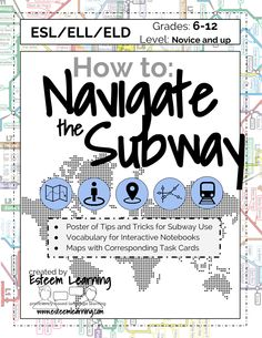 Poster, Map & Task Cards for the Metro / Subway - French, Spanish & ESL/ELL/ELD Travel Lesson for INB