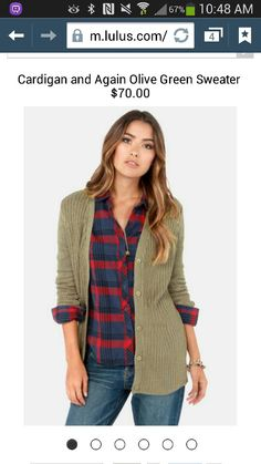 Plaided flannel...green cardigan...jeans