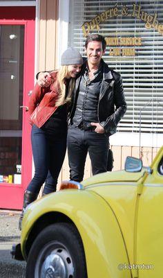 Jennifer Morrison & Colin O'Donoghue on set - March 3, 2015