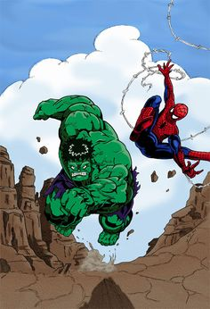 Colorisation Hulk et Spiderman by Juju-Gribouille