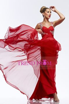 2014 Prom Dress Straps A Line Embellished With Beaded Applique Ruffled Chiffon