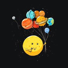 Solar Balloons Tee Outter Space Shirt – Oh NO Pluto is floating away! Wallpaper Iphone Cute, Iphone Wallpapers, Wallpaper Backgrounds, Planets Wallpaper, Galaxy Wallpaper, Tumblr Girly, Funny Doodles, Funny Illustration, Cute Cartoon Wallpapers